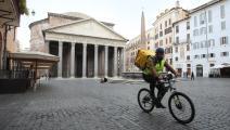 مقاهي ومطاعم روما خالية من الزبائن