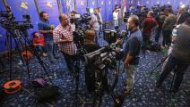 صحافيون في البرلمان العراقي عام 2018 (أحمد الربيعي/فرانس برس)