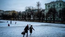 بركة البطريرك في موسكو 1 (ديميتار ديلكوف/ فرانس برس)