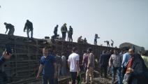 انقلاب قطار بمحافظة القليوبية المصرية (فيسبوك)