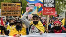 (من مظاهرات لندن ضد الانتهاكات الإسرائيلية في القدس منذ أيام، Getty)