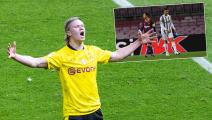 BERLIN, GERMANY - MAY 13: Erling Haaland of Dortmund celebrates scoring the 2:0 goal during the DFB Cup final match between RB Leipzig and Borussia Dortmund at Olympic Stadium on May 13, 2021 in Berlin, Germany. Sporting stadiums around Germany remain under strict restrictions due to the Coronavirus Pandemic as Government social distancing laws prohibit fans inside venues resulting in games being played behind closed doors. (Photo by Mika Volkmann/Getty Images)