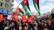 خلال تحرك ضد اتفاقية الغاز في الأردن (خليل مزرعاوي/ فرانس برس)