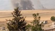 قصف النظام السوري لسهل الغاب أدى لاحتراق أكثر من 250 دونم من محصول القمح (تويتر)