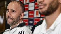 Algeria's coach Djamel Belmadi (L) and Algeria's midfielder Adlene Guedioura give a press conference at the International Cairo Stadium on July 18, 2019, on the eve of the 2019 Africa Cup of Nations (CAN) final football match between Senegal and Algeria. (Photo by JAVIER SORIANO / AFP) (Photo credit should read JAVIER SORIANO/AFP via Getty Images)
