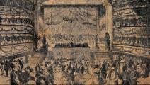 """""""مسرح نعوم"""" في إسطنبول، 1844 (من كتاب """"التصوير في الإمبراطورية العثمانية"""" لـ إنجين أوزيندس)"""