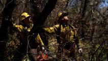 يعملان على إزالة مسببات الحرائق (باتريك ت. فالون/ فرانس برس)