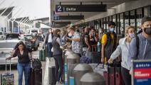 ازدحام غير مسبوق بالمسافرين في مطار لوس أنجليس بكاليفورنيا