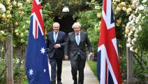 الزعيمان البريطاني بوريس جونسون والأسترالي سكوت موريسون في لندن