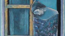 جزء من عمل بلا عنوان لصفوان داحول (سورية)، أكريليك وورق مذهّب على لوح خشبي، 1993