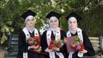 ضحى وآلاء وإسراء ثلاث فلسطينيات توائم 1 (العربي الجديد)