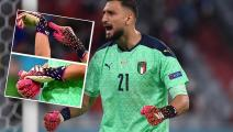 Italy's goalkeeper Gianluigi Donnarumma celebrates victory after the UEFA EURO 2020 quarter-final football match between Belgium and Italy at the Allianz Arena in Munich on July 2, 2021. (Photo by Christof STACHE / POOL / AFP) (Photo by CHRISTOF STACHE/POOL/AFP via Getty Images)