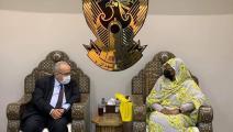 وزير الخارجية الجزائري ووزيرة الخارجية السودانية (فيسبوك)