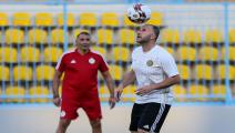Algeria's coach Djamel Belmadi attends a training session at Petrosport Stadium in Cairo on July 3, 2019, ahead of the 2019 Africa Cup of Nations (CAN) Round of 16. - Algeria will face Guinea in the round of 16 on July 7. (Photo by Samer ABDALLAH / AFP) (Photo credit should read SAMER ABDALLAH/AFP via Getty Images)