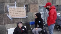 لاجئون سوريون مضربون عن الطعام في كوبنهاغن في الدنمارك (الأناضول)