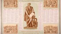 روزنامة لعام 1878 يظهر فيها تمثال غوتنبرغ في ستراسبوغ