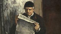 """تفصيل من لوحة """"الأب يقرأ الجريدة"""" لـ بول سيزان، 1866"""