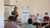 خلال تدريب الشباب الصم في غزة (قطر الخيرية)