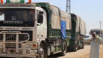 قافلة مساعدات أممية تدخل إلى إدلب (تويتر)