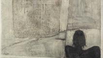 """""""الإنسان والزمان"""" لـ سعدي الكعبي (العراق)، زيت ورمل على قماش، 1974"""