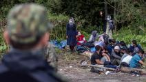 مجموعة من الهاربين الأفغان على حدود بولندا (فوجتيك رادفانسكي/ فرانس برس)