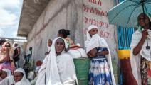 انتظار مساعدات في تيغراي في إثيوبيا (إدواردو سوتيراس/فرانس برس)