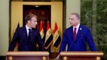 الرئيس الفرنسي ماكرون ورئيس الوزراء العراقي الكاظمي في المؤتمر الصحفي ببغداد(gett)
