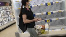أرفف فارغة في متجر للأغذية في بريطانيا (Getty)