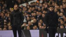 LONDON, ENGLAND - MARCH 17: Thomas Tuchel manager of Borussia Dortmund and Mauricio Pochettino manager of Tottenham Hotspur look on during the UEFA Europa League round of 16, second leg match between Tottenham Hotspur and Borussia Dortmund at White Hart Lane on March 17, 2016 in London, England. (Photo by Tom Dulat/Getty Images)