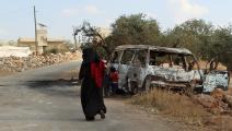 امرأة في إدلب- فرانس برس