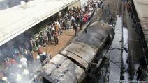 آثار الحريق على محطة مصر (العربي الجديد)