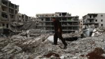 سياسة/غارات سورية/(ناذر الخطيب/فرانس برس)