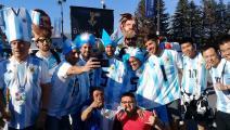 الجماهير الأرجنتينية قبل مباراة الأرجنتين و نيجيريا