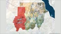 خريطة السودان مع تحديد إقليم دارفور