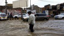 سيول تغرق الشوارع في اليمن (محمد حويس/فرانس برس)