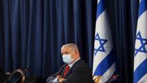 بنيامين نتنياهو خلال ترؤسه جلسة لحكومة الاحتلال-رونين زفولون/فرانس برس