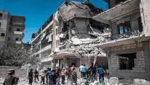 قصف المناطق السكنية في أريحا السورية (فيسبوك)