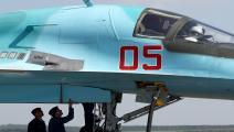 طائرة سوخوي على طريق عام في موسكو (Getty)