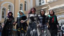 ممثلات أفغانيات في احتجاج على العنف ضدّ النساء (Getty)