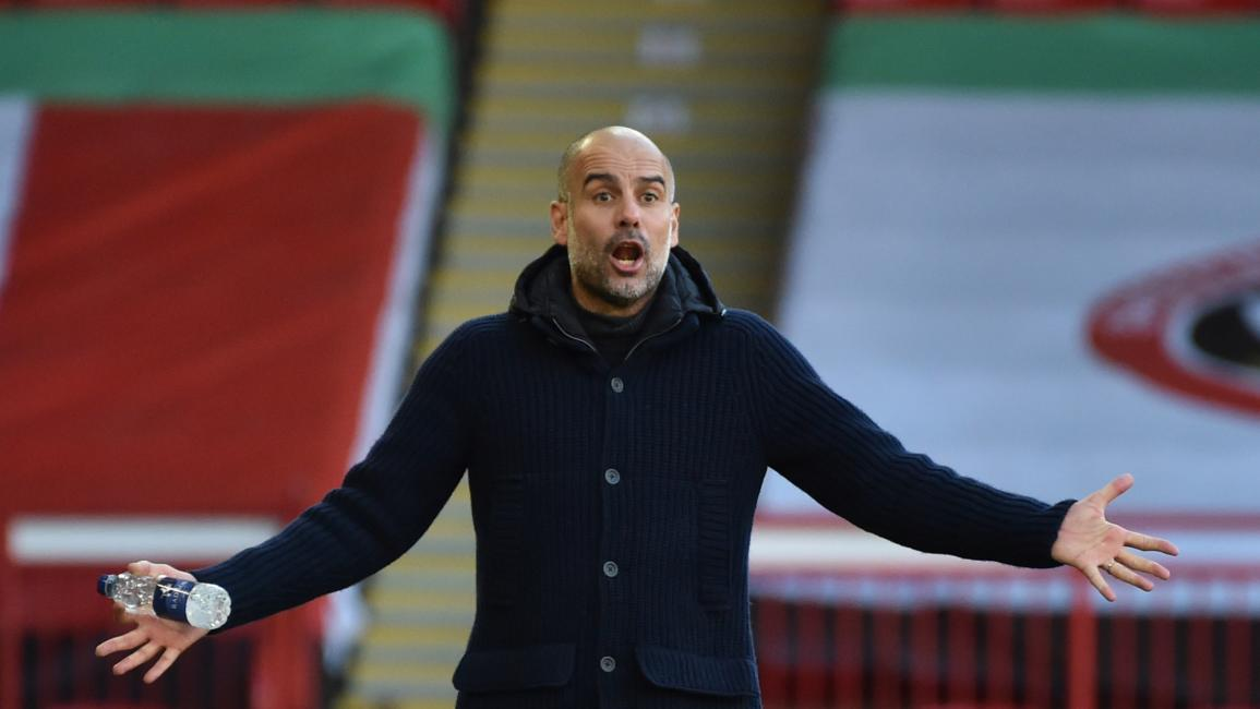 Manchester City's Spanish manager Pep Guardiola reacts during the English Premier League football match between Sheffield United and Manchester City at Bramall Lane in Sheffield, northern England on October 31, 2020. (Photo by Rui Vieira / POOL / AFP) / RESTRICTED TO EDITORIAL USE. No use with unauthorized audio, video, data, fixture lists, club/league logos or 'live' services. Online in-match use limited to 120 images. An additional 40 images may be used in extra time. No video emulation. Social media in-m
