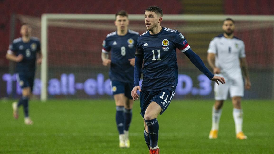 BELGRADE, SERBIA - NOVEMBER 12: Ryan Christie in action for Scotland during the UEFA Euro 2020 Qualifier between Serbia and Scotland at the Stadion Rajko Mitic on November 12, 2020, in Belgrade, Serbia. (Photo by Nikola Krstic/SNS Group via Getty Images)