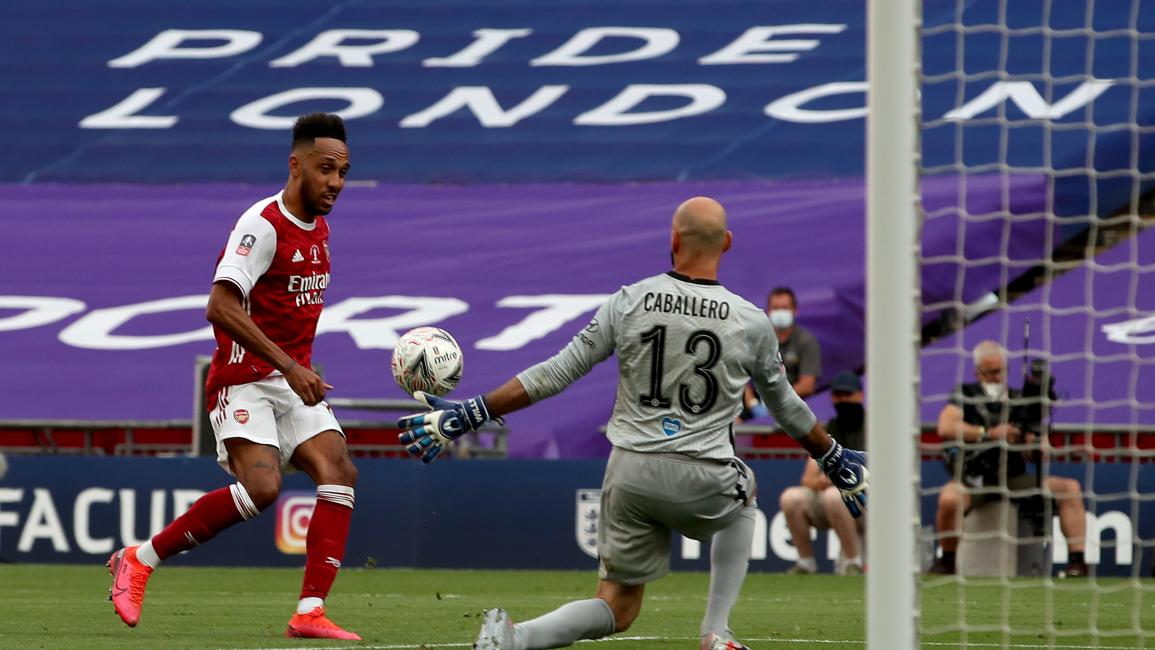 LONDON, ENGLAND - AUGUST 01: Pierre-Emerick Aubameyang of Arsenal scores his sides second goal during the Heads Up FA Cup Final match between Arsenal and Chelsea at Wembley Stadium on August 01, 2020 in London, England. Football Stadiums around Europe remain empty due to the Coronavirus Pandemic as Government social distancing laws prohibit fans inside venues resulting in all fixtures being played behind closed doors. (Photo by Adam Davy/Pool via Getty Images)
