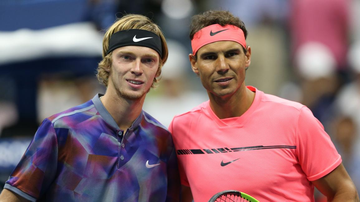 NEW YORK, USA - SEPTEMBER 6: Rafael Nadal of Spain and Andrey Rublev of Russia take a photo before competeting in Men's Singles Quarter Finals tennis match within the 2017 US Open Tennis Championships at the Arthur Ashe Stadium in New York, United States on September 6, 2017. (Photo by Mohammed Elshamy/Anadolu Agency/Getty Images)