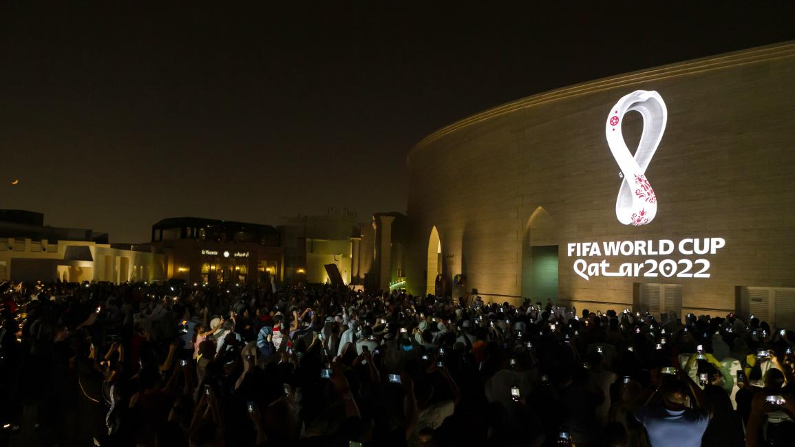 DOHA, QATAR - SEPTEMBER 03: In this handout provided by The Supreme Committee for Delivery & Legacy, The Official Emblem of the FIFA World Cup Qatar 2022™️ is unveiled on September 03, 2019 in Doha, Qatar. The FIFA World Cup Qatar 2022™️ Official Emblem was projected on to a number of iconic buildings in Qatar and across the Arab world and displayed on outdoor digital billboards in more than a dozen renowned public spaces in major cities. (Photo by Supreme Committee for Delivery & Legacy via Getty Images)