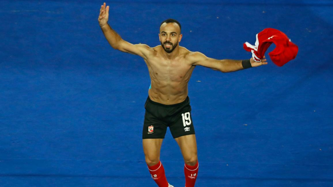 Ahly's midfielder Mohamed Magdy celebrates winning the CAF Champions League Final football match between Egyptian sides Zamalek and Al-Ahly at the Cairo International Stadium in Egypt's capital on November 27, 2020. (Photo by Khaled DESOUKI / AFP) (Photo by KHALED DESOUKI/AFP via Getty Images)