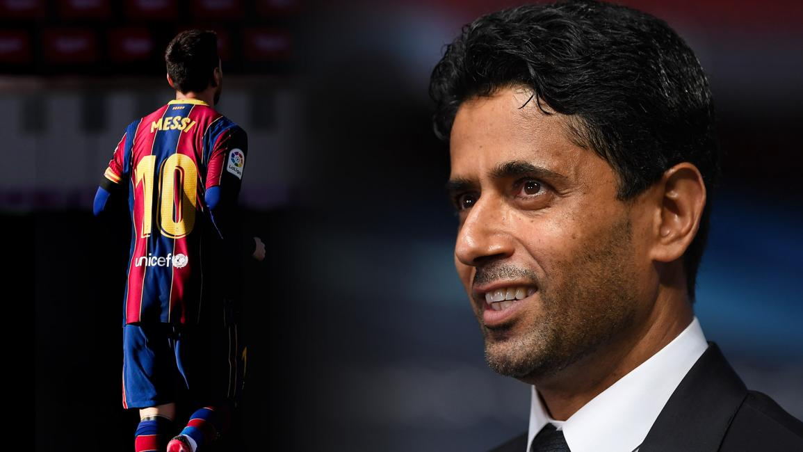 LISBON, PORTUGAL - AUGUST 12: Nasser Al-Khelaifi, PSG chairman is interviewed after the UEFA Champions League Quarter Final match between Atalanta and Paris Saint-Germain at Estadio do Sport Lisboa e Benfica on August 12, 2020 in Lisbon, Portugal. (Photo by Michael Regan - UEFA/UEFA via Getty Images)