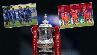 LEICESTER, ENGLAND - MARCH 21: A detailed view of the Emirates FA Cup Trophy is seen prior to the Emirates FA Cup Quarter Final match between Leicester City and Manchester United at The King Power Stadium on March 21, 2021 in Leicester, England. Sporting stadiums around the UK remain under strict restrictions due to the Coronavirus Pandemic as Government social distancing laws prohibit fans inside venues resulting in games being played behind closed doors. (Photo by Alex Pantling/Getty Images)