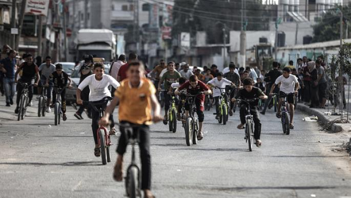 سباق دراجات لأطفال غزة للمطالبة بوقف تسليح الاحتلال الإسرائيلي