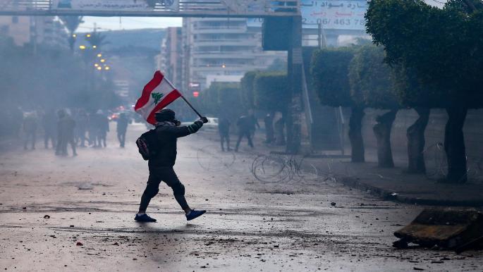 خلال احتجاج في مدينة طرابلس اللبنانية