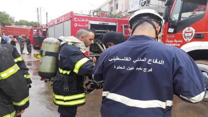 الدفاع المدني الفلسطيني في المخيمات يشارك بإخماد حرائق لبنان